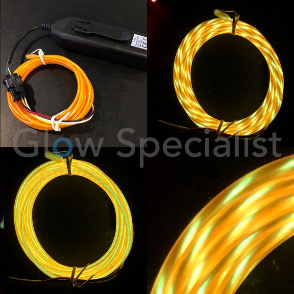 EL-WIRE WITH MOTION EFFECT - 2 M - WITH INVERTER - YELLOW