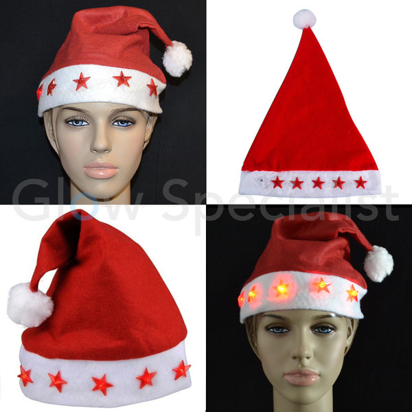 SANTA HAT WITH LUMINIOUS STARS - 1 PIECE - STANDARD