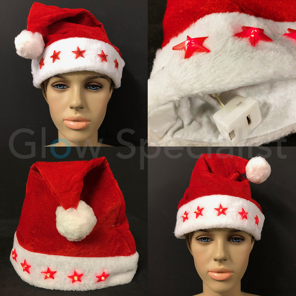 SANTA HAT WITH LUMINOUS STARS - 1 PIECE - QUALITY