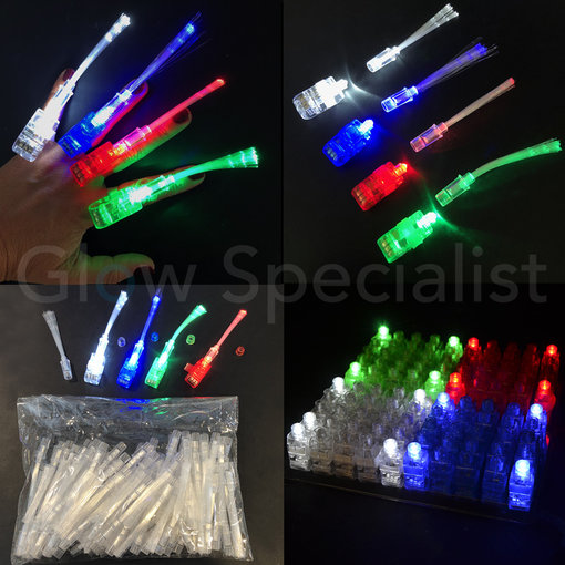 - Glow Specialist FINGER LIGHTS WITH FIBERSTICKS - TRAY OF 100 PIECES - 4 COLORS