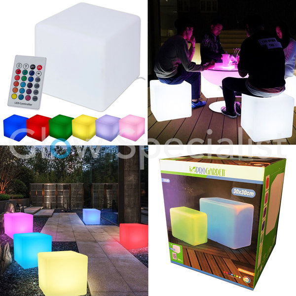 LED CUBE - COLOR CHANGING - RECHARGEABLE WITH REMOTE