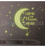 GLOW IN THE DARK MUURSTICKERS - I LOVE YOU TO THE MOON AND BACK