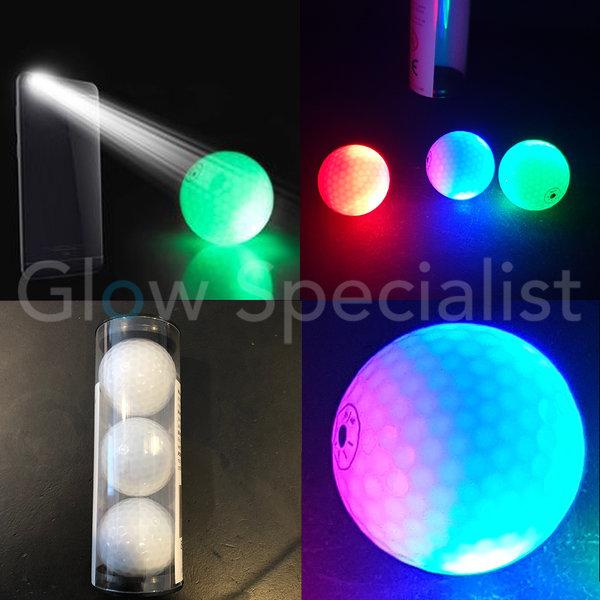 LED GOLFBAL - KOKER MET 3 STUKS - LICHT GEACTIVEERD