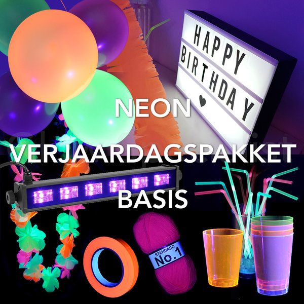 NEON VERJAARDAGSPAKKET - BASIS - UV / BLACKLIGHT