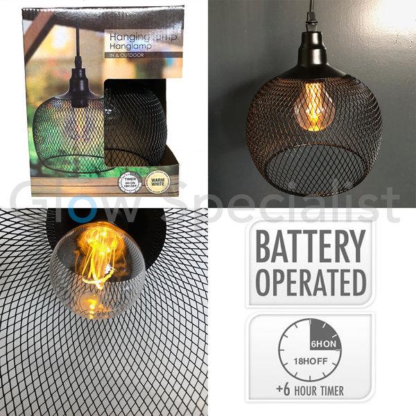 LED HANGING LAMP BLACK METAL - Ø18CM - WARM WHITE - WITH TIMER