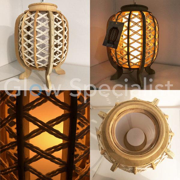 LED TAFELLAMP - HOUT MET WIT TOUW - ⌀ 25 X 33 CM