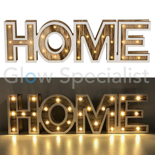 DECORATIEVE HOUTEN LETTERS MET LED VERLICHTING - HOME - 28 LED