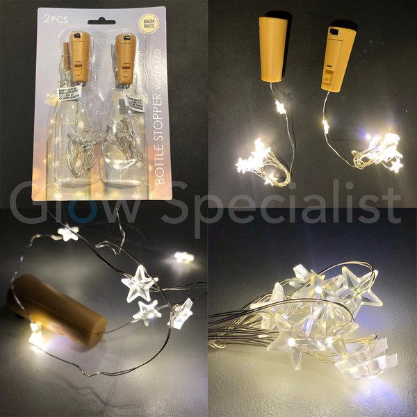 FLESSENSTOP MET 8 LED STERREN - WARM WIT - SET VAN 2