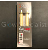 LED SIMUFLAME CANDLES WITH REMOTE CONTROL - SET OF 2