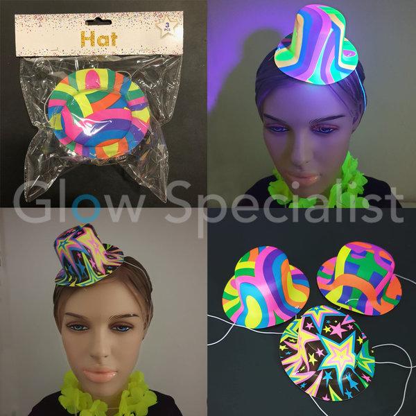 UV / BLACKLIGHT PARTY HATS - RETRO - SET OF 3