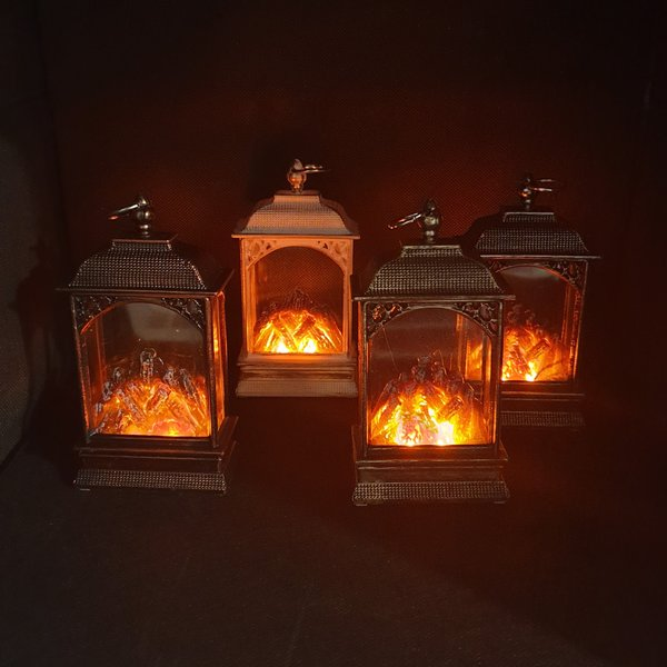 MINI LANTERN WITH DECORATIVE LED FLAME EFFECT - 135 MM