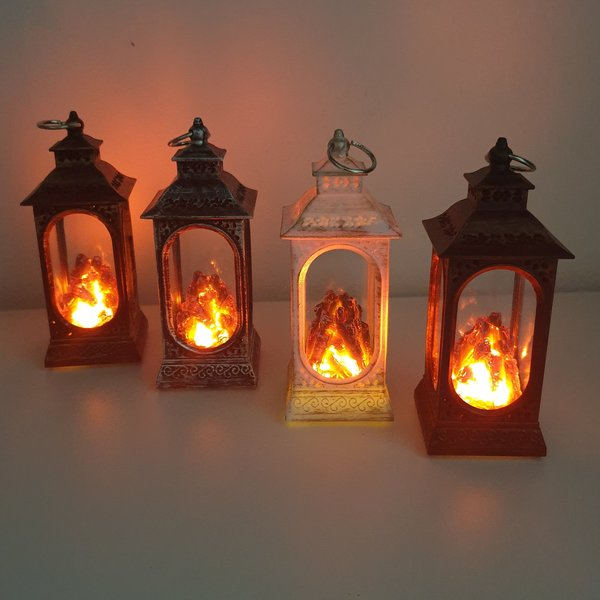 MINI LANTERN WITH DECORATIVE LED FLAME EFFECT - 125 MM