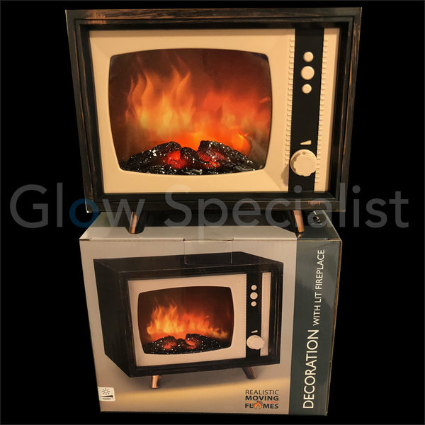 DECORATIVE RETRO TV WITH LED FIRE PLACE EFFECT