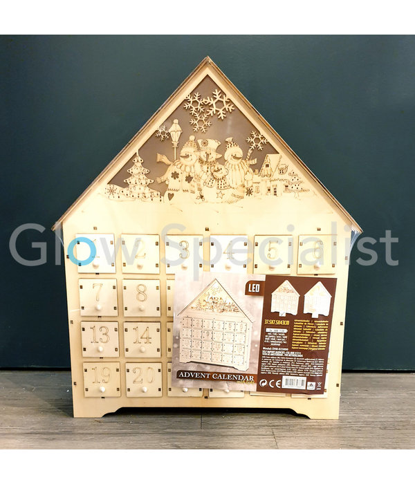 WOODEN ADVENT CALENDAR WITH LED