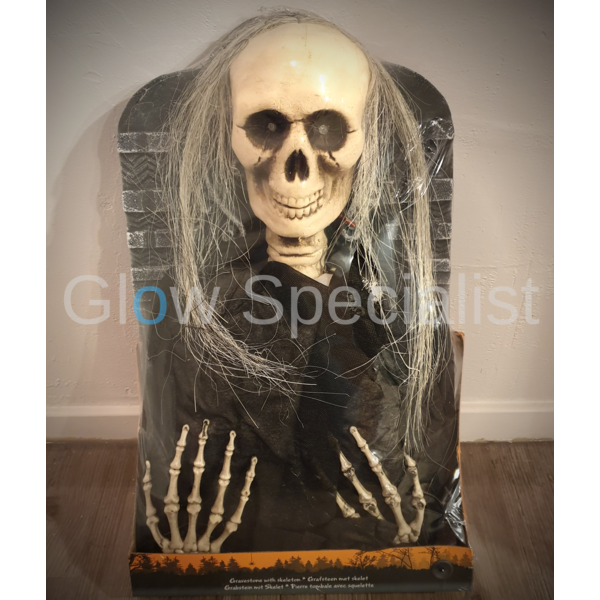 GRAVESTONE WITH SKELETON - WITH LIGHT AND SOUND