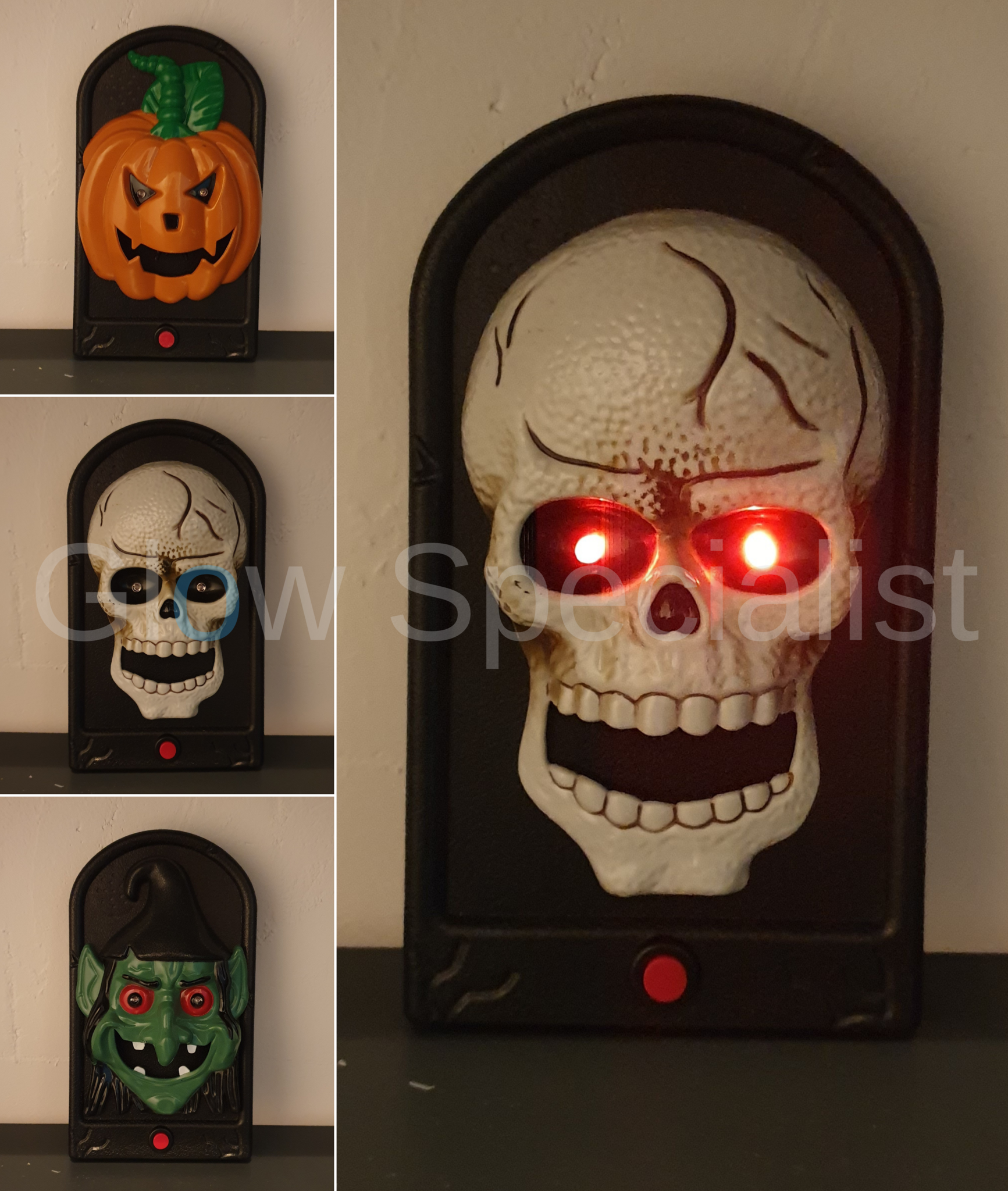 Halloween Skull Decorations.Halloween Skull Doorbell Touch Control Halloween Party Decorations Light Up Talking Doorbell Scary And Haunted Skull With Sounds Led Light Ornament 2 Pack Door Chimes Bells Tools Home Improvement Femsa Com