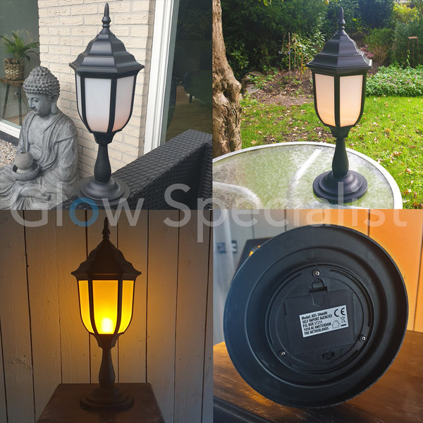 LED LANTERN WITH FLAME EFFECT AND TIMER - 48 CM