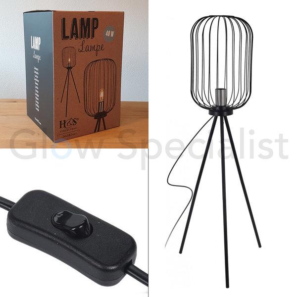 ART DECO - STAANDE LAMP - ZWART METAAL