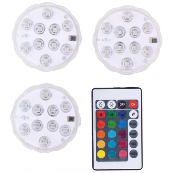 GRUNDIG LED LAMPS - SET OF 3 - WITH REMOTE CONTROL - RGB - IP65