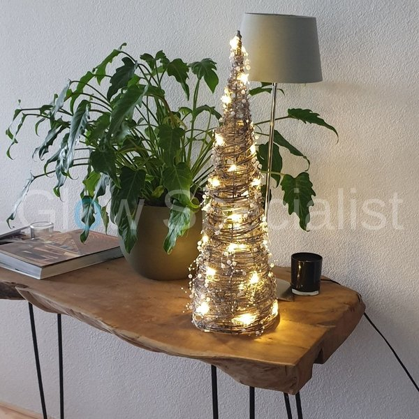 DECORATION WITH LIGHT - RATTAN CONE - 30 LEDS - TIMER - 60 CM
