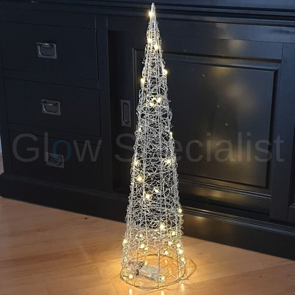 DECORATION WITH LIGHT - SILVER CONE - 30 LEDS - TIMER - 80 CM