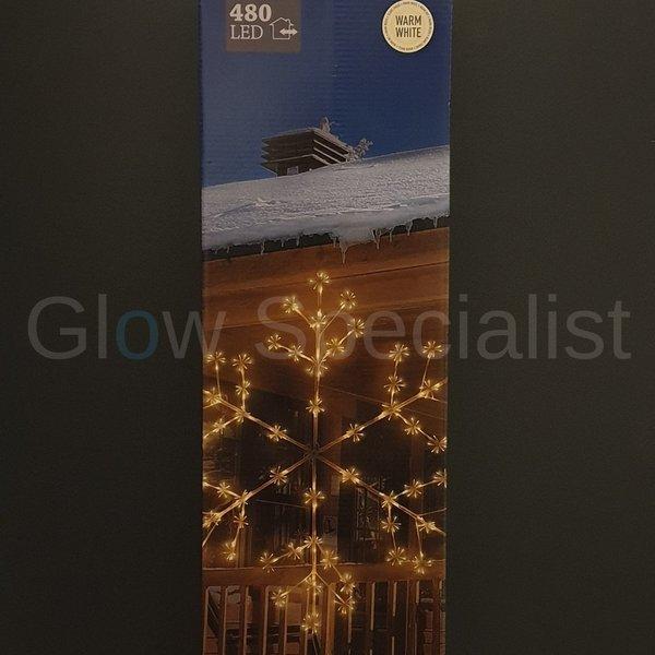 XL SNEEUWVLOK MET LICHT - 480 LED - 150 CM - WARM WIT