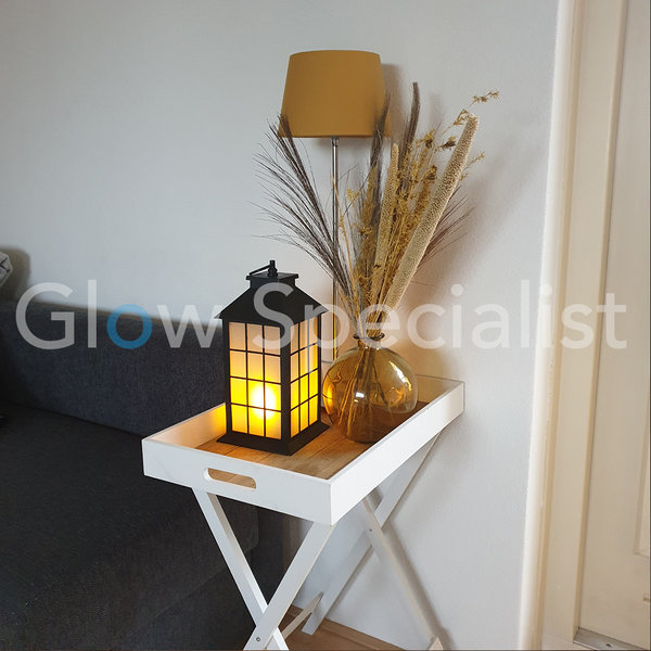 LED LANTERN WITH DECORATIVE FLAME EFFECT - RECTANGLE