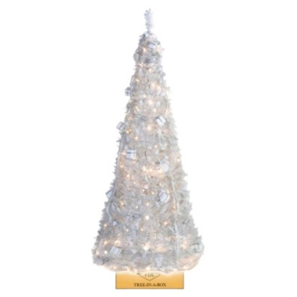 POP-UP CHRISTMAS TREE INCL. DECORATION AND LIGHTS - WHITE - 180 CM