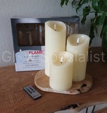 SIMUFLAME LED CANDLES - SET OF 3 - WITH TIMER AND REMOTE CONTROL