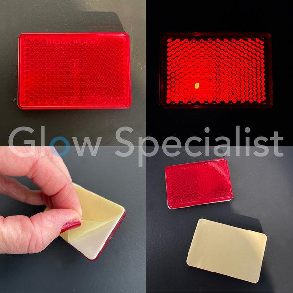 RECTANGULAR REFLECTOR RED - 57X40MM - SELF-ADHESIVE - SET OF 2