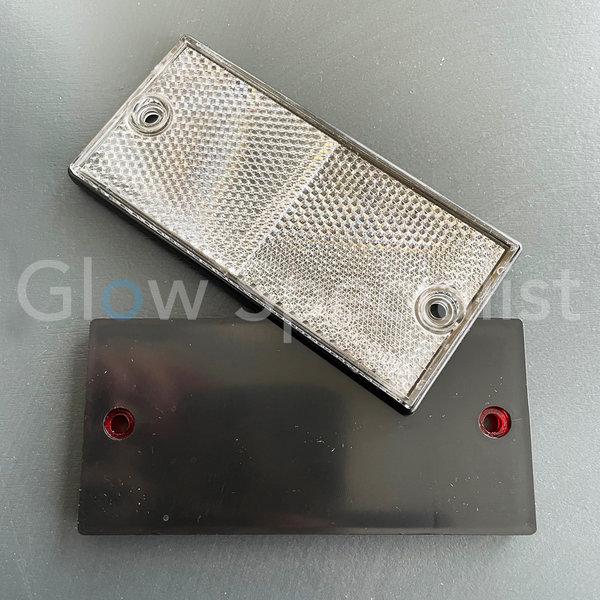 RECHTHOEKIGE REFLECTOR WIT - 105 X 48 MM - MET SCHROEFGATEN - SET VAN 2