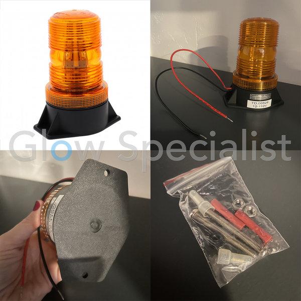 LED STROBE LIGHT - 12V-110V - FLAT FIXED MOUNTING - ORANGE