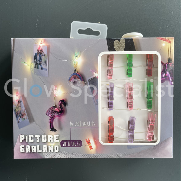 PICTURE GARLAND WITH LIGHT AND 16 CLIPS - 3 METER