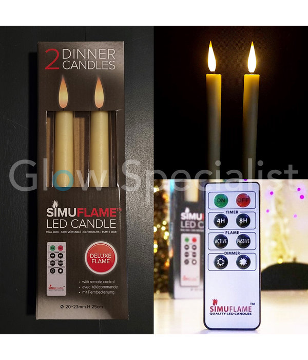 LED SIMUFLAME CANDLES WITH REMOTE CONTROL - DELUXE FLAME - SET OF 2