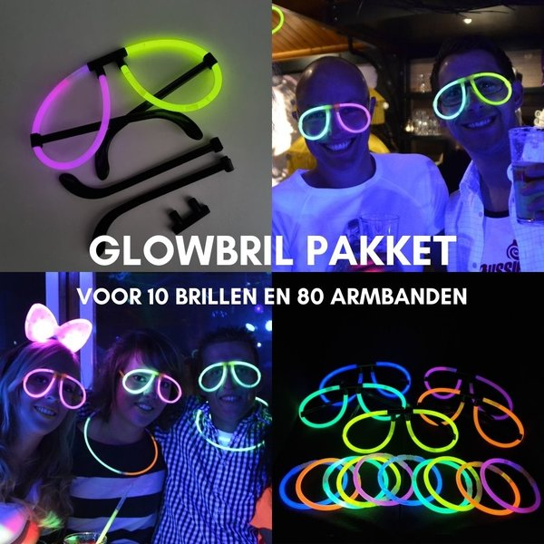 PACKAGE WITH 10 GLOW GLASSES AND 80 GLOWBRACELETS