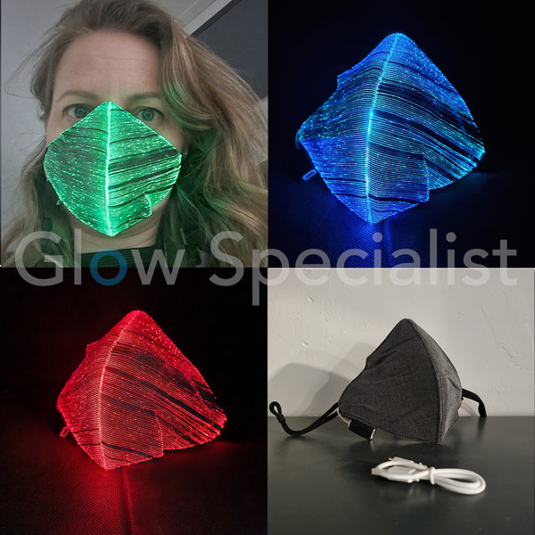 LIGHT UP FIBRE OPTIC FACE MASK - RECHARGEABLE - 11 POSITIONS