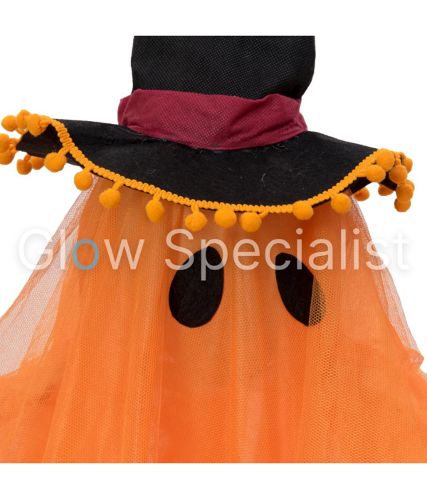 Europalms HALLOWEEN ORANGE GHOST WITH WITCH HAT - COLOR CHANGING - 150 CM
