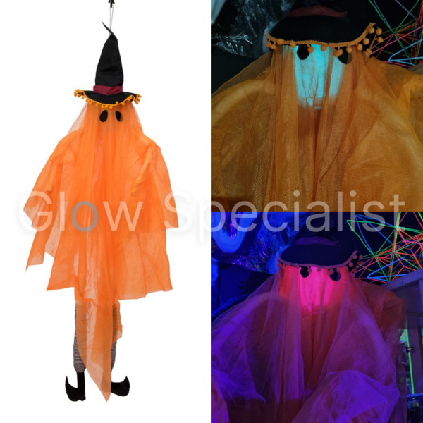 HALLOWEEN ORANGE GHOST WITH WITCH HAT - COLOR CHANGING - 150 CM