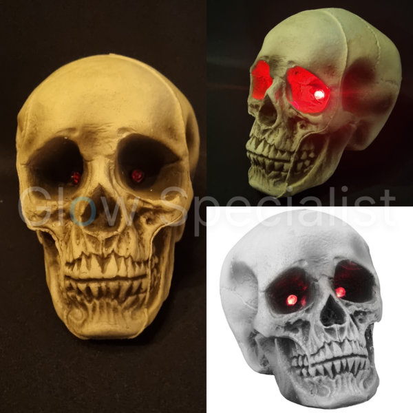 HALLOWEEN SKULL WITH RED LED EYES