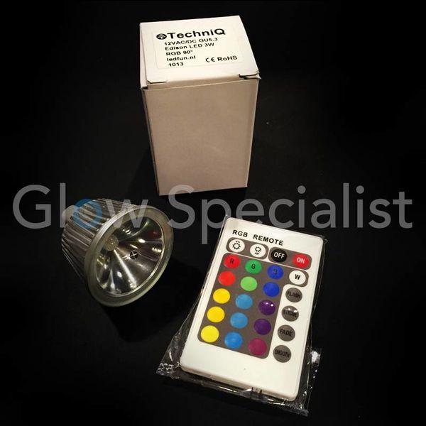 MOODLIGHT RGB 12VAC/DC GU 5.3 - MET AFSTANDBEDIENING