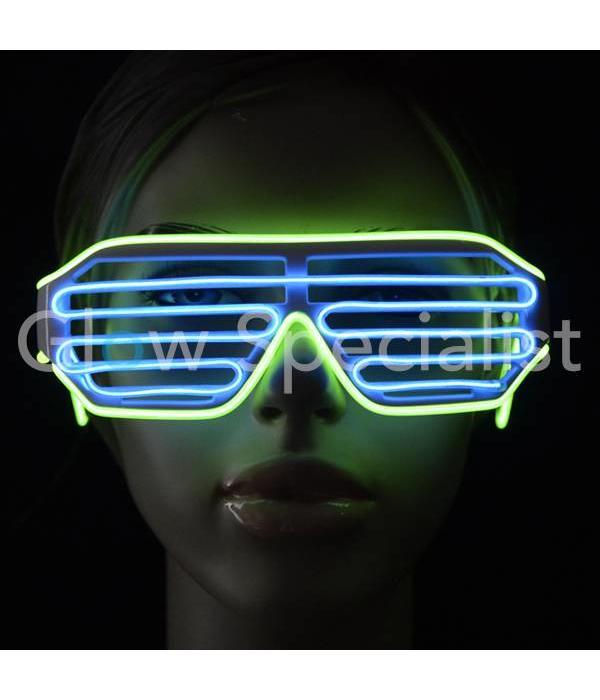EL-WIRE SHUTTER GLASSES - WHITE - BLUE / YELLOW