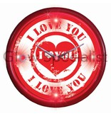 Party Fun Light LED WANDKLOK - I LOVE YOU