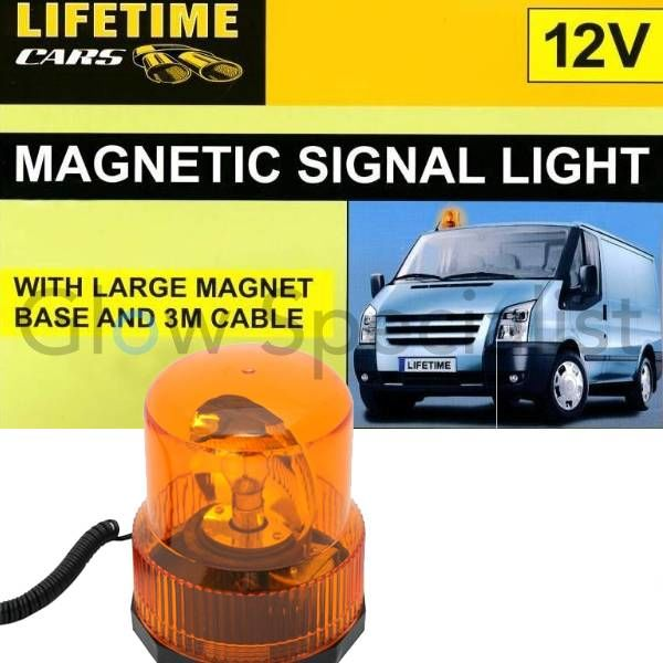 MAGNETIC ORANGE SIGNAL LIGHT - WITH 12V CAR CHARGER