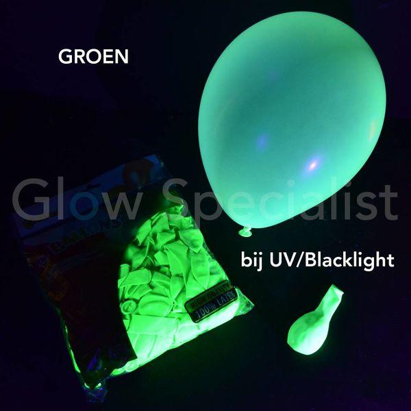 UV NEON BALLONNEN - 25 CM - GROEN - 100 STUKS