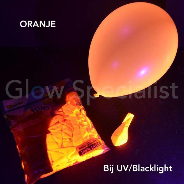UV NEON BALLONNEN - 25 CM - ORANJE - 100 STUKS