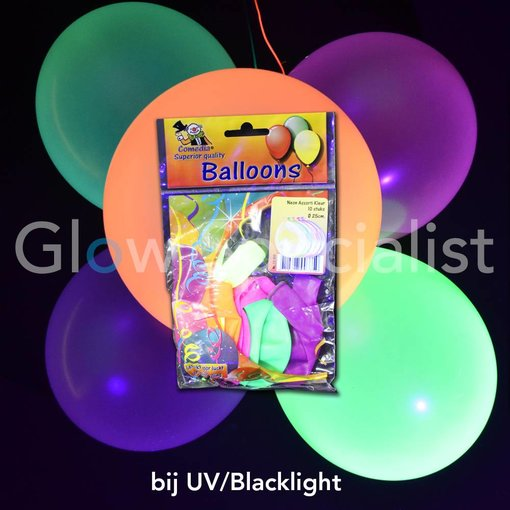 UV NEON BALLOONS - ASSORTED - 10 PIECES