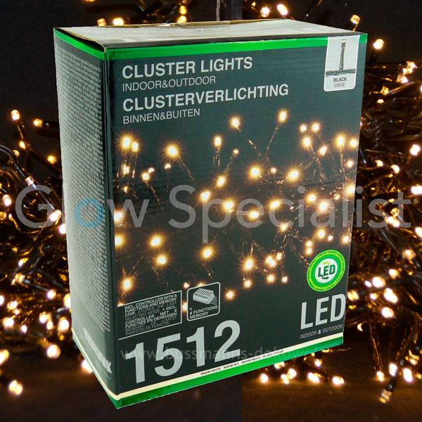 LED CLUSTERVERLICHTING - 1512 LAMPJES - WARM WIT - MET 8 LICHTFUNCTIES