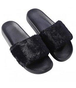 Furry Slides Black
