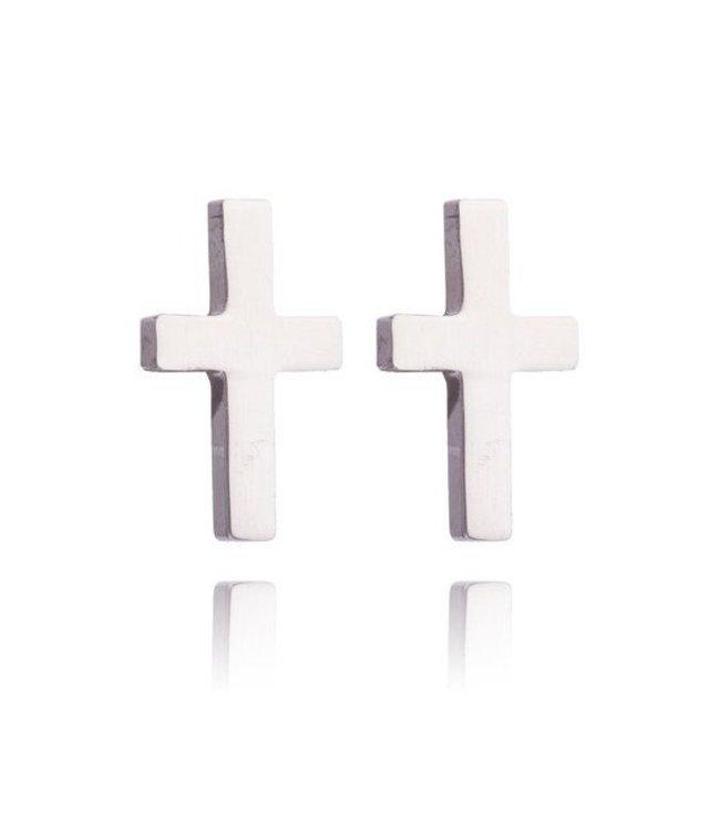 'Cross' Oorbellen - Silver