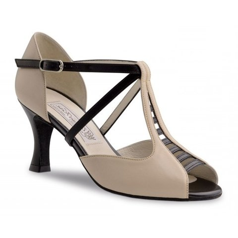 Holly 6.5 cm Nappa beige/black